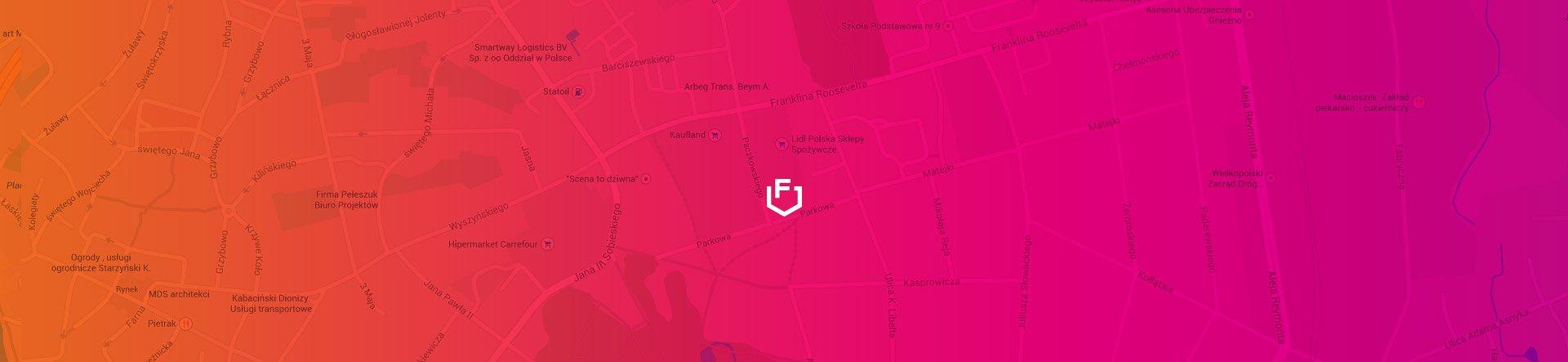 Mapa z dojazdem do Fluo Design